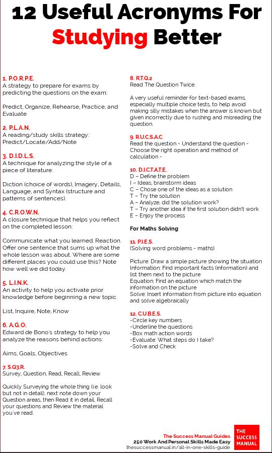 study skills acronyms